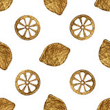 Abstract lemon pattern. Gold hand painted seamless background. Citrus fruit golden illustration. Royalty Free Stock Photography