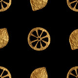 Abstract lemon pattern. Gold hand painted seamless background. Citrus fruit golden illustration. Stock Image