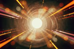 Abstract lens flare. concept image of space or time travel background over dark colors and bright lights.  stock photography