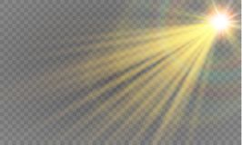 Abstract lens gold front solar flare transparent special light effect design. Royalty Free Stock Image