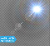 Abstract lens gold front solar flare transparent special light effect design. Vector motion blur glare glow Stock Images