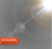 Abstract lens gold front solar flare transparent special light effect design. Vector motion blur glare glow Stock Photos