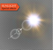 Abstract lens gold front solar flare transparent special light effect design. Vector motion blur glare glow Royalty Free Stock Images