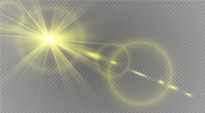 Abstract lens gold front solar flare transparent special light effect design. Vector motion blur glare glow Stock Image