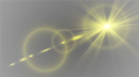 Abstract lens gold front solar flare transparent special light effect design. Vector motion blur glare glow Royalty Free Stock Photos
