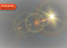 Abstract lens gold front solar flare transparent special light effect design. Vector motion blur glare glow Royalty Free Stock Photography