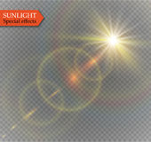 Abstract lens gold front solar flare transparent special light effect design. Vector motion blur glare glow Stock Photography