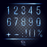Abstract lens neon numbers on transparent checkered background v Royalty Free Stock Photo