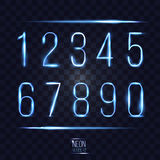 Abstract lens shining neon numbers on transparent checkered back. Ground vector illustration. part of collection. good for your design Stock Photos
