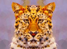 Abstract leopard face low poly bokeh wallpaper Stock Image