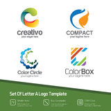 Abstract letter C logo set. Simple, colorful and modern design v Royalty Free Stock Photography