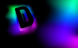 Abstract letter D. Creative glow pattern 3D logo corporate style of the company or brand name D. Black letter abstract, multicolor. Ed, gradient, blurred Royalty Free Stock Photography