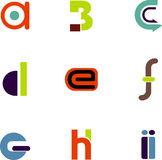 Abstract letter icons. Vectors of abstract alphabet letter icons a through i stock illustration