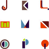 Abstract letter icons. Vectors of abstract alphabet letter icons J through Q Stock Photos