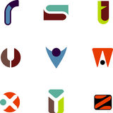 Abstract letter icons. Vectors of abstract alphabet letter icons R through Z royalty free illustration