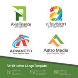 Abstract letter A logo set. Simple, colorful and modern design v. Ector of several letter A logo concept. Suitable for studio company, web design, technology royalty free illustration
