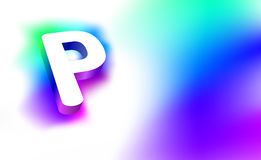 Abstract Letter P. Template of creative glow 3D logo corporate identity of company or brand name letter P. White letter abstract,. Multicolored, gradient Royalty Free Stock Images