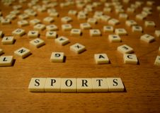 Sports letters. Abstract letters arranged to form background Stock Images