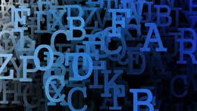 Abstract letters in blue color stock footage