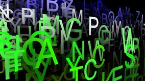 Abstract letters in green color stock footage