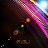 Abstract licht kleur het gloeien lijnontwerp tegen donkere achtergrond Stock Afbeeldingen