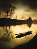 Abstract surreal view with boat on the river stock photos