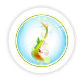 Abstract life tree with bubblies in round icon Royalty Free Stock Photos