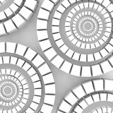 Abstract light background. Light cubes arranged in circles on a gray background. Cubes are different sizes in the same color Stock Photos