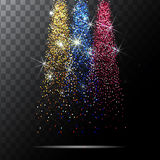Abstract light background. Magic with gold glitter burst. Vector Stock Photography