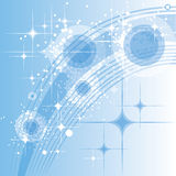 Abstract light blue background. Vector eps10 illustration. Circles, stars and curves royalty free illustration