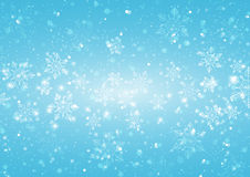 Abstract Light Blue Background with Snowflakes Stock Images