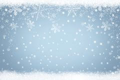 Abstract light blue background Winter snow landscape with falling snowflakes. Light blue background Winter snow landscape with falling snowflakes. Abstract Stock Image