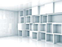 Abstract light blue 3d interior with cubes shelves. Abstract empty light blue 3d interior with cubes shelves on the wall Stock Photos