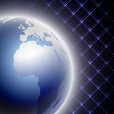 Abstract light blue globe on black background. Vector illustration Stock Image