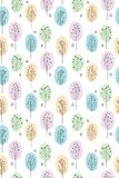 Cute Hand Drawn Abstract Trees Vector Pattern. Pastel Colours, White Background. Woodland Theme. Abstract light blue, green, yellow and violet trees isolated on stock illustration