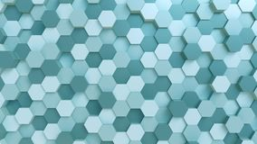 Abstract light blue hexagons background, 3D rendering Royalty Free Stock Photo
