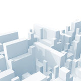 Abstract light blue schematic 3d cityscape isolated Stock Photography