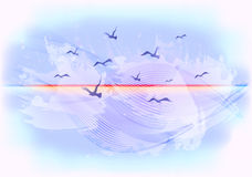 Abstract light blue sky background with birds flying in the clouds. EPS10 vector illustration Royalty Free Stock Photos