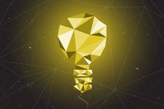 Abstract of light bulb graphic using polygon and geometry shape. Abstract of light bulb graphic using polygon and geometry shape with connected link line on Stock Image