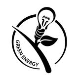 Abstract light bulb. Logo, symbol of green energy Stock Image