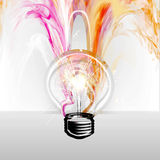 Abstract light bulb. Transparent light bulb with electric  light  and abstract Stock Image