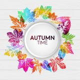 Abstract light card autumn time with leaf prints. In bright trendy gradient colors. Vector design elements for the design of postcards, promotional leaflets stock illustration