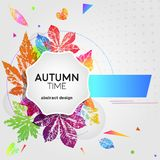 Abstract light card autumn time with leaf prints. In bright trendy gradient colors. Vector design elements for the design of postcards, promotional leaflets royalty free illustration