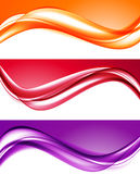 Abstract light colorful backgrounds set. With red orange purple horizontal wavy lines in soft dynamic style. Vector illustration royalty free illustration