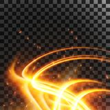 Abstract light effect flare and sparkles isolated on transparent backgroundt. Vector illustration. Abstract light effect with glowing gold wavy lines flare and Royalty Free Stock Image