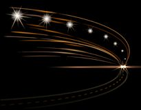 Abstract light effects. Car headlight. Road, street, expressway. illustration Stock Images
