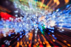 Abstract light explosion effect background. Long exposure photograph of moving bright lights royalty free stock photos