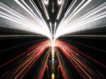 Abstract light glow. Abstract symmetrical image of vehicular lights at night stock illustration