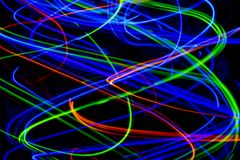 Abstract light painting in the darkness. Abstract light painted in the darkness with light. Rgb and srgb colour balance vector illustration