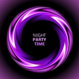 Abstract light purple swirl circle on black Royalty Free Stock Photography